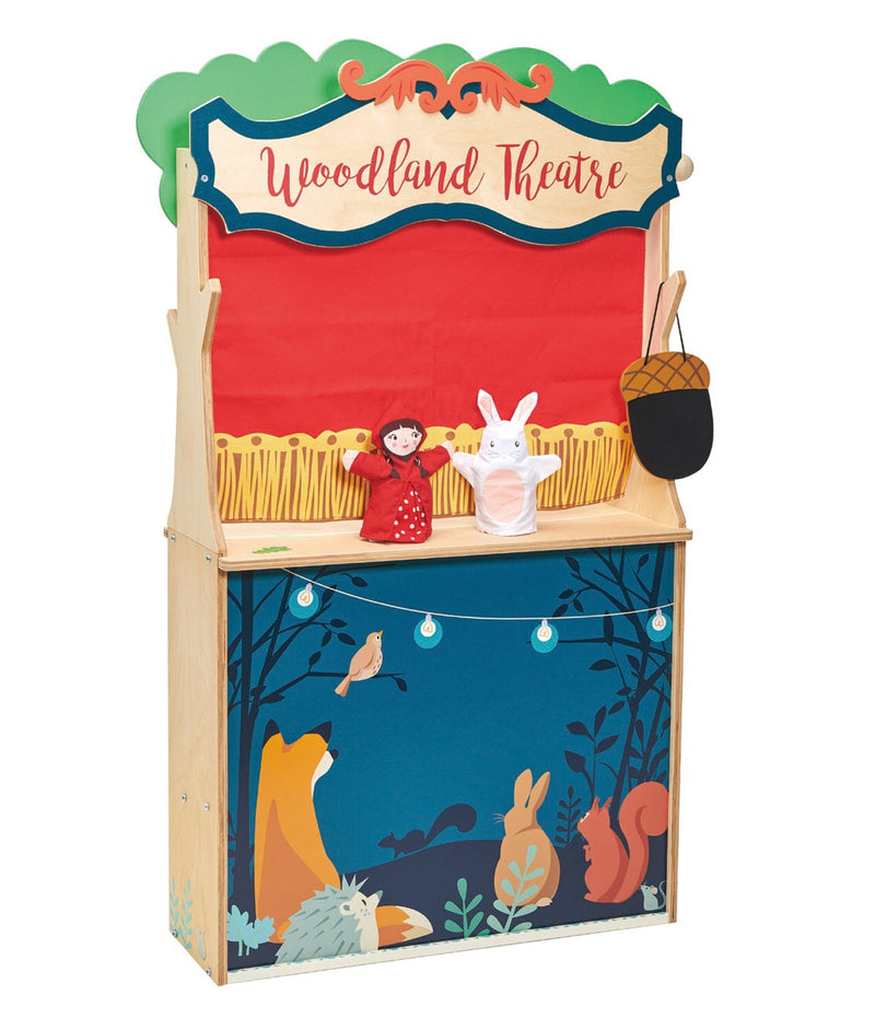 A wonderful stage for a puppet show & a wonderful store for pretend play. This 2 in 1 product comes with 2 glove puppets ready to perform the show. The theatre also displays a red curtain that can be lowered 7 raised for the performance and a sweet tote bag. Product is made from sustainable rubber wood & non-toxic paint.