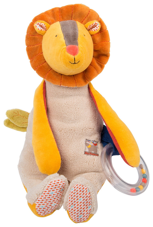 Children will be delighted with this activity lion.. Chime bell sound, crinkle leaves activity  ring , cute little ears & tail and long arms. Recommended age newborn +