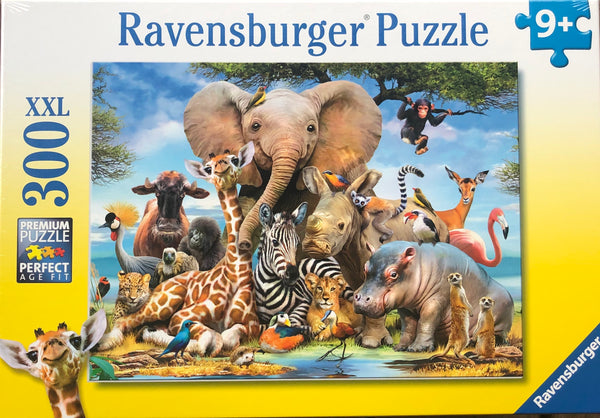A puzzle that makes you smile. African animals at the waterhole. Size puzzle 59 x 36 cm Recommended age 9+