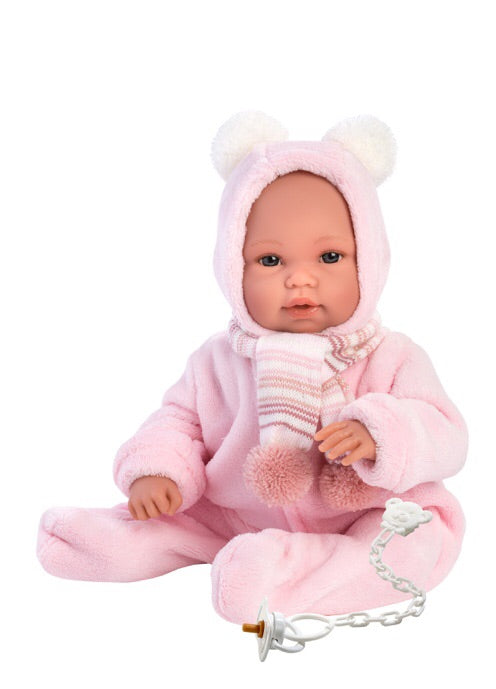 Llorens doll 36cm is a beautiful cuddly doll. Dressed in a pink jumpsuit with hoodie and a matching pink striped scarf.  A gorgeous face and white dummy attached. A soecial gift for any small child. Pink striped drawstring bag is included.  Recommended age 3+