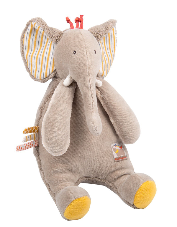 A lovely plush elephant toy. A perfect gift for newborns.