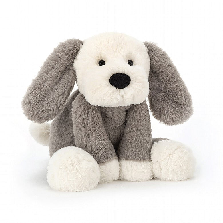 Jellycat -  Smudge Puppy in Grey & White