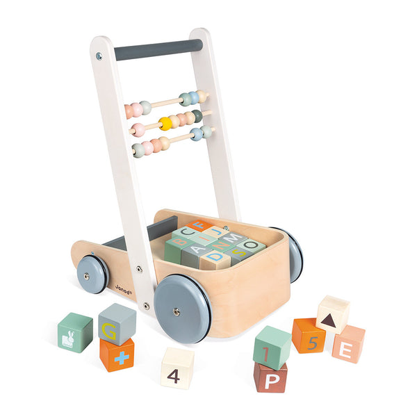 Janod - Wooden Walker with Blocks ABC