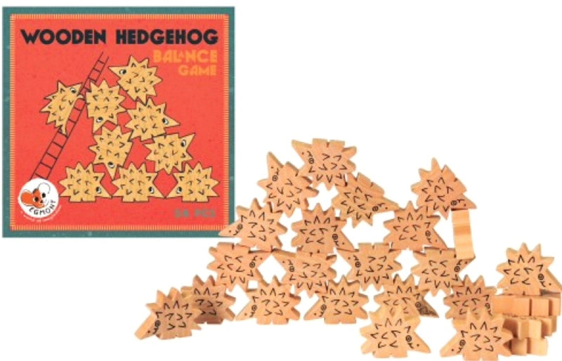 A balancing game of hedgehogs. 24 wooden hedgehogs to stack. Great fun. Play with friends or solo. Who will be the first to knock the hedgehogs down?  Box Size 17 x17 x 5 cm