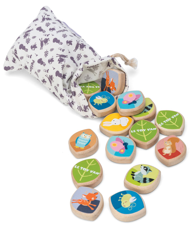 A beautiful cotton bag including a wooden memory game is a great activity for ages 1-2 years