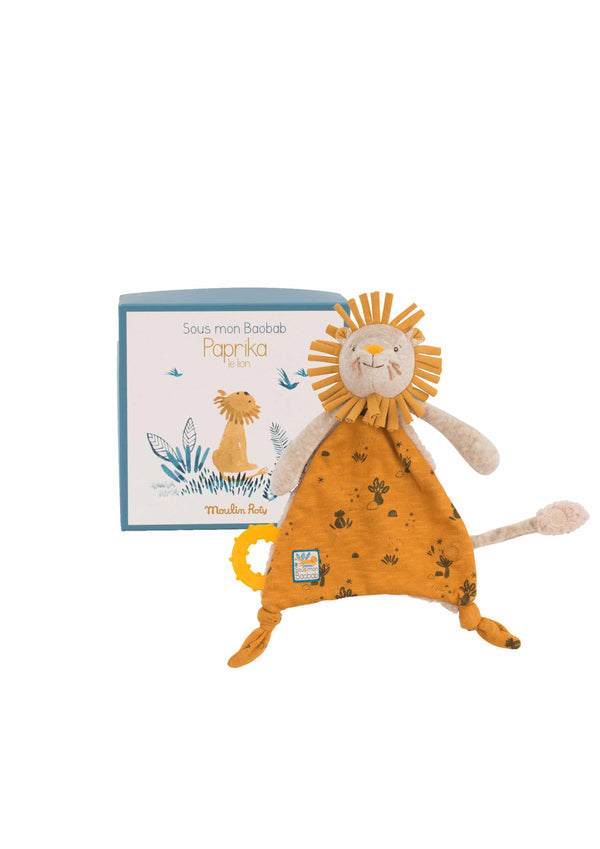 A beautiful soft comforter for newborn babies Floppy lion to cuddle & chew Presented in a lovely box