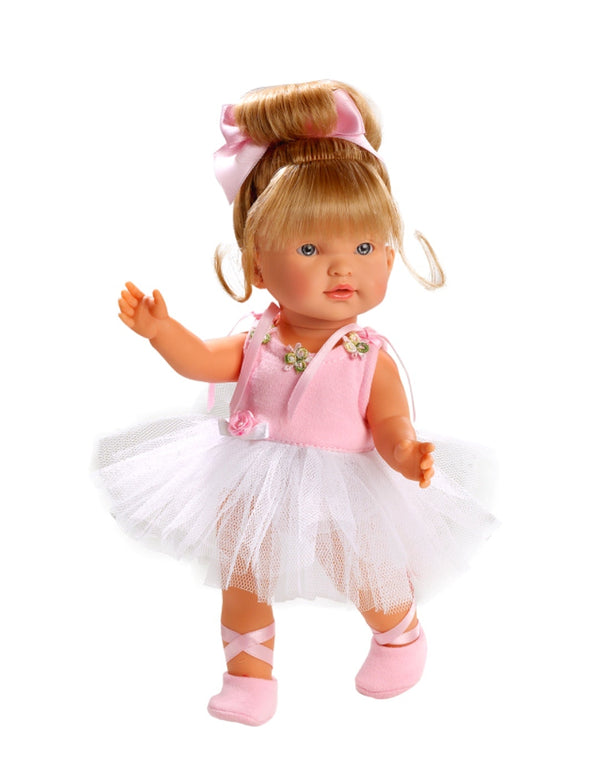 Llorens doll Ballerina is a delightfil small size 25 cm doll for ages 3 +. A gorgeous tutu outfit with pink bodice with roses, pink hair piece and pink ballet booties. Hard body doll with moveable joints. Hours of imaginative play with this gorgeous doll.