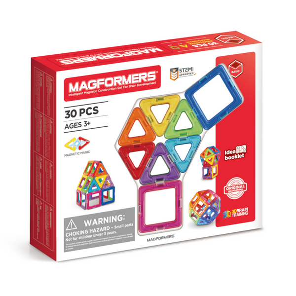 Colourful magnetic shapes for creative building. 30 piece magformers set is recommended for ages 3 +age