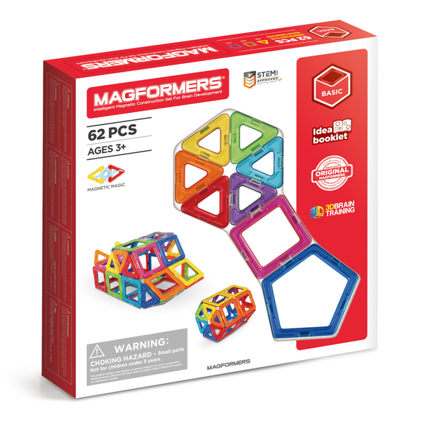 A fun, creative and colourful magnetic shape set. The magetic shapes click together allowing building of all sorts. Recommended age 3+