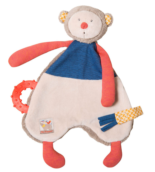 Moulin Roty - Les Papoum Monkey Comforter with Pacifier Holder