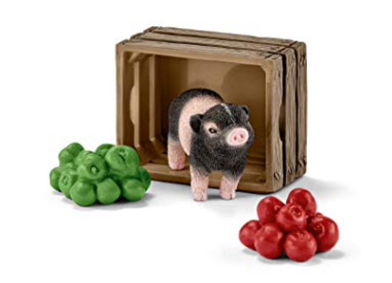 Schleich Pig and apple set a very sweet gift for any child ages 3+. Two bunches of apple, basket and piglet included for fun play.