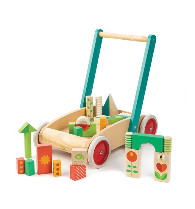 Tender Leaf wooden walker with blocks. Beautiful and sturdy design perfect for 18months and up