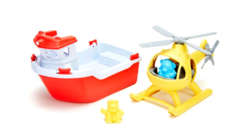 Green Toys - Rescue Boat & Helicopter