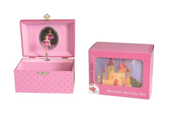 A lovely pink musical jewellery box  Wind up to play the tune Size 15 x 10 x 9cm