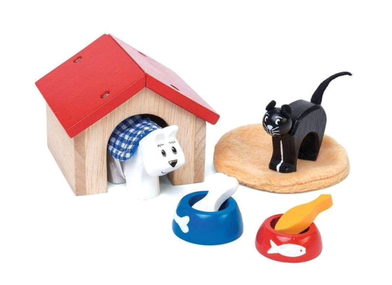 The sweetest little Pet Set. Great for imaginative and creative play. Set includes - wooden Dog & Cat, food & bowls, blanket