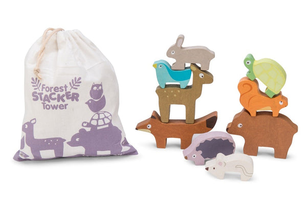 Forest Stacker includes nine woodland animals. See how high you can go before your animals fall down. Presented in a cardboard box with small carry bag for animals.