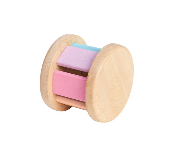 Plan toys baby roller is designed for small hands. bell inside makes a lovely sound when it moves. Recommended age 6 mths +