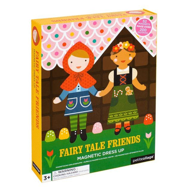 Help these friends get ready for a fairy tale day. Choose their outfits and accessories with this fashion packed magnetic doll dress-up set. Includes two magnetic figures, two wooden stands, 52 magnetic pieces and a charming room scene for hours of dress up fun. Create over 200 outfits!