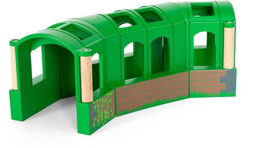 A flexible tunnel, a wonderful accessory for any train set. Set includes 3 pieces of curved tunnel Height of tunnel is 8cm , curved length 23cm, width 8 cm