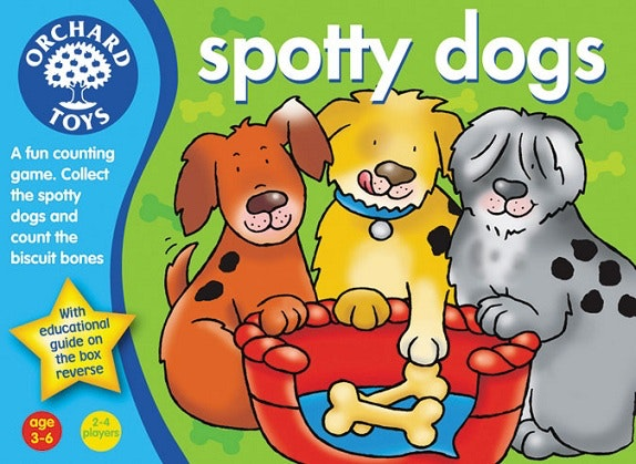 Orchard toys , spotty dog game is a fun counting game with a spinner for 3-6 year olds.
