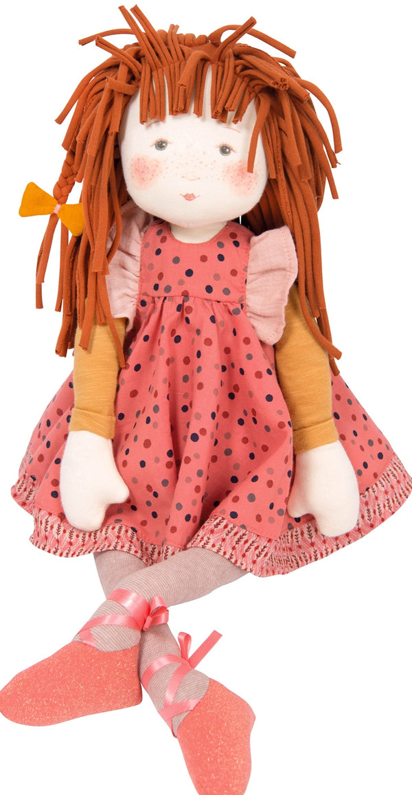 An absolutely gorgeous rag doll wearing a spotted sundress with detail edging.  Very sweet, adorable painted face with Rosie cheeks & freckles, bean bottom for easy sitting
