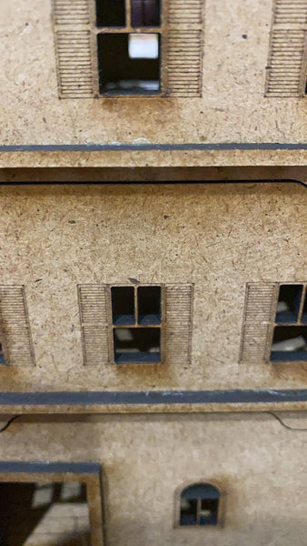 10x10 cm MDF Half-timbered, 3 story town house set - 28mm scale