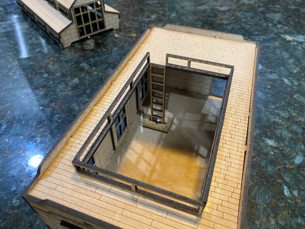 MDF Warehouse for table top war-gaming 28mm / 1:56 scale