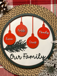 "Personalized Family wall decoration 11"" from 2-12 names.  Free Shipping!"