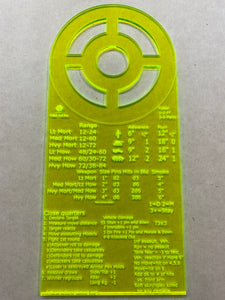 Bolt Action Compact cheat sheet and template.  - Fluorescent Yellow