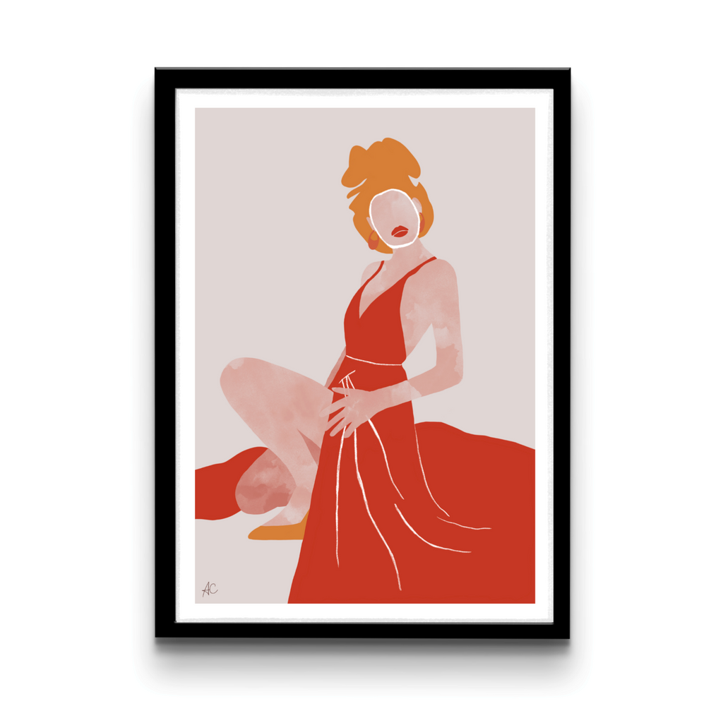Woman in red dress - Digital download