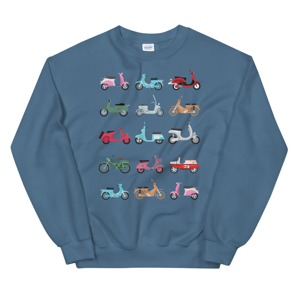 Scooters, vespas, motors sweatshirt