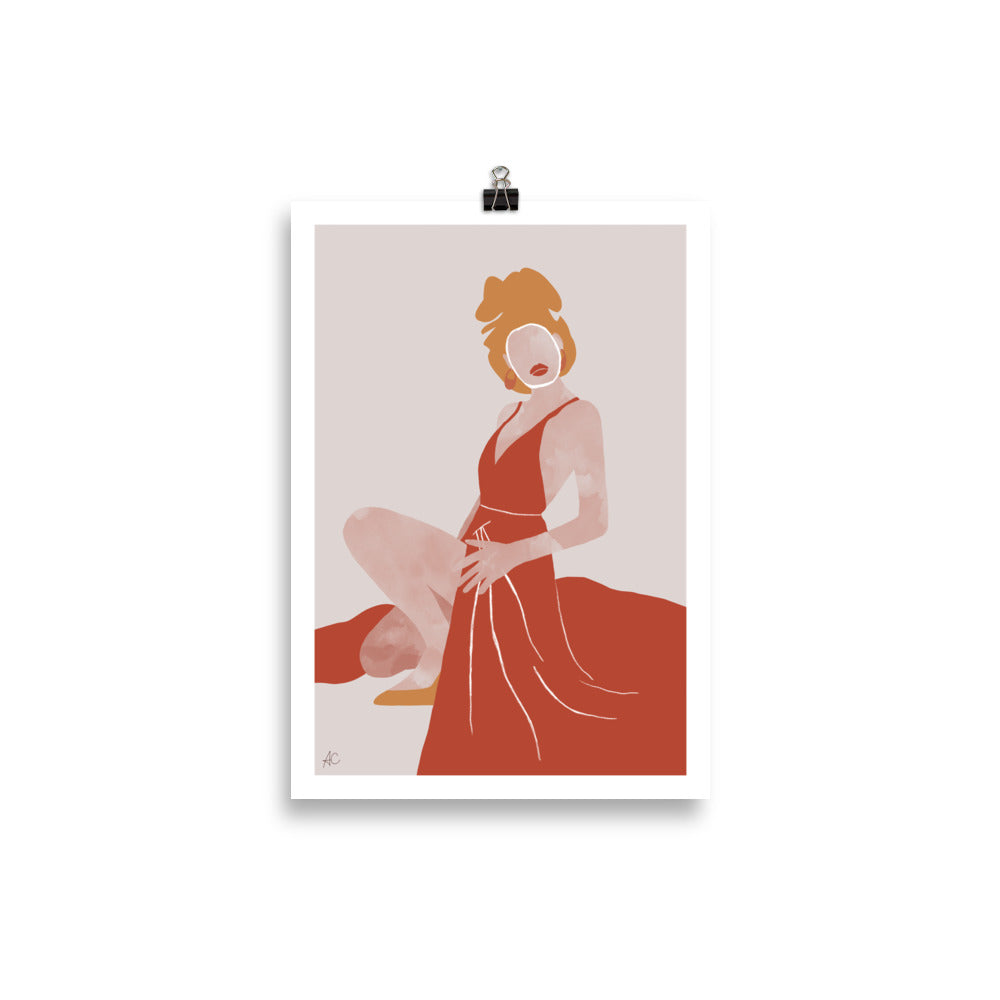Woman in red dress - Poster