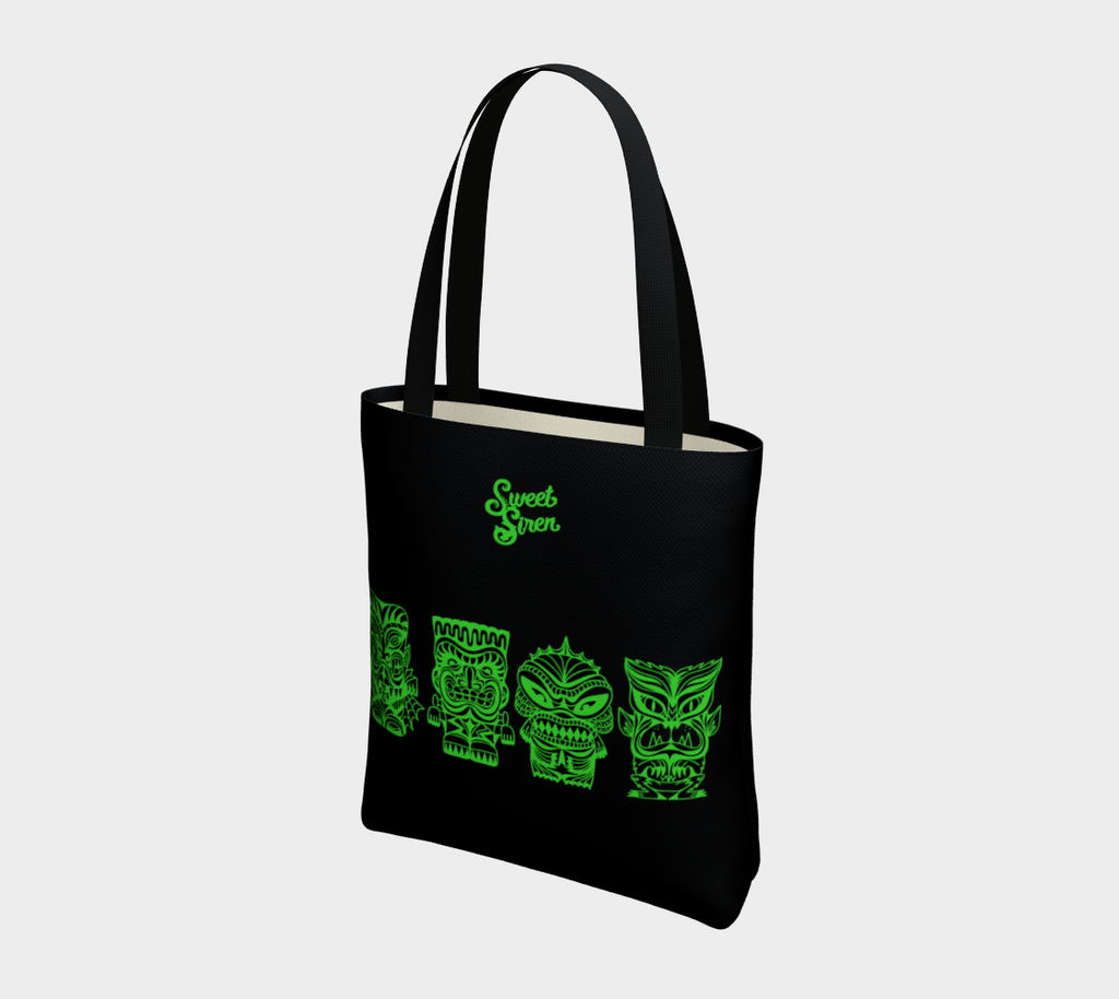 Tiki Monsters SLIME GREEN - Black Basic Tote