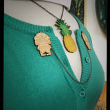 Creature Tiki Monster Collar-Sweater Pin Set