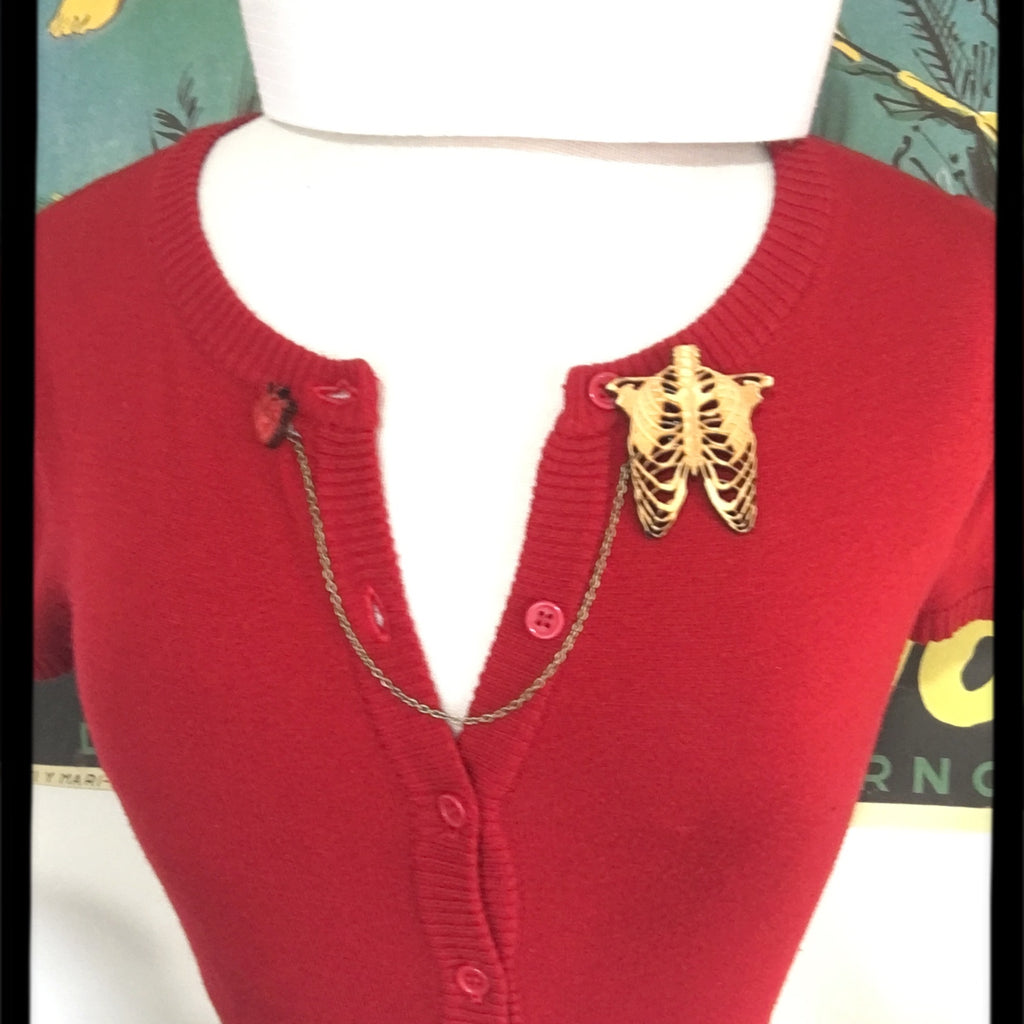Rib Cage and Heart - Sweater - Collar Pin set