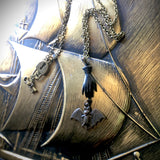 Haunted Victorian Hand and Bat Necklace