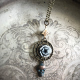 Haunted Flower Skull Art Deco Necklace