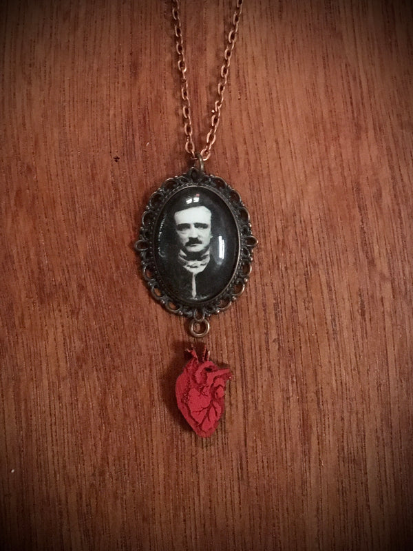 Small Poe Cameo with Heart - Necklace