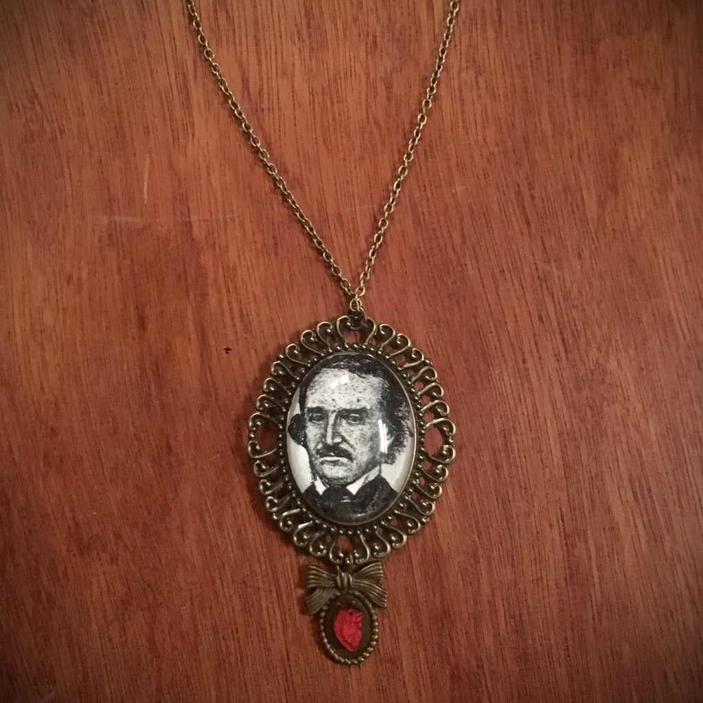 Large Poe Cameo with Heart - Necklace