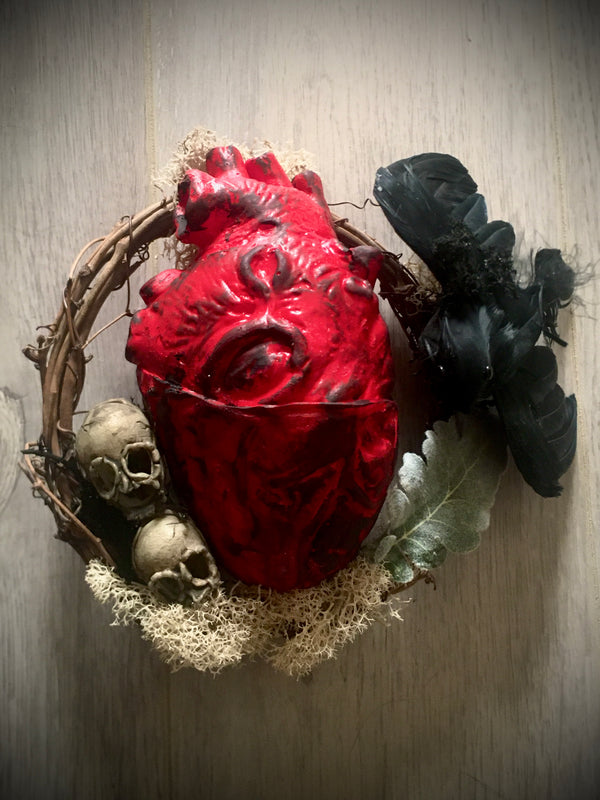 Small Tell Tale Heart Raven Wreath