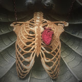 Rib Cage and Heart - Wooden Necklace - Large
