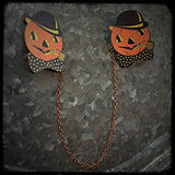 Halloween Pumpkin Collar - Sweater Pin Set