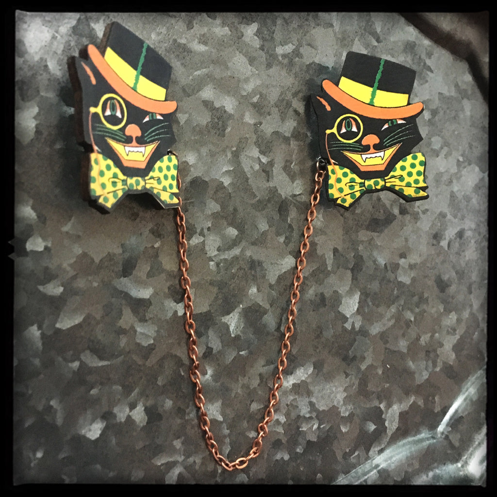Halloween Cat Collar - Sweater Pin Set
