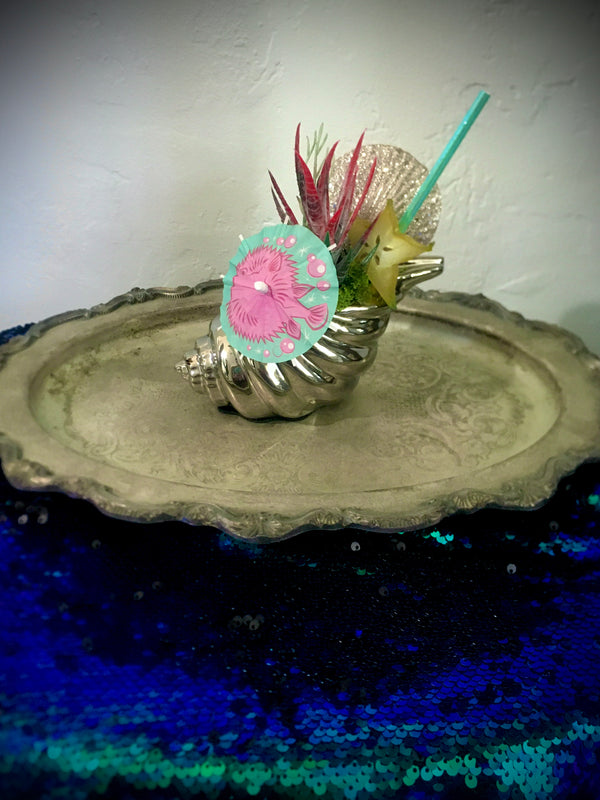"""The Puffer Fish"" - Mermaid Tiki Cocktail Plant"