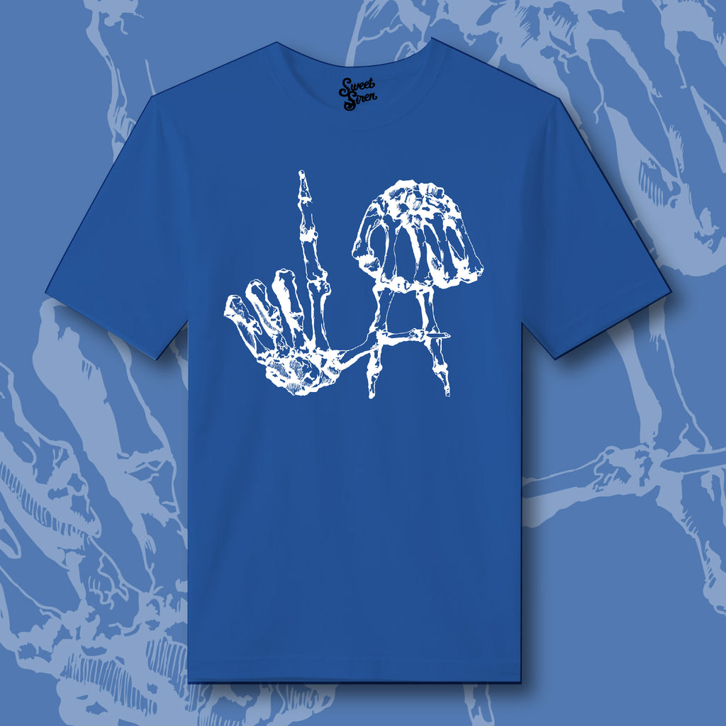 LA Skeleton Hands  - UNISEX DODGER BLUE Tee