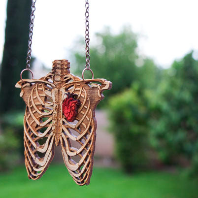Rib Cage and Heart - Wooden Necklace - Small