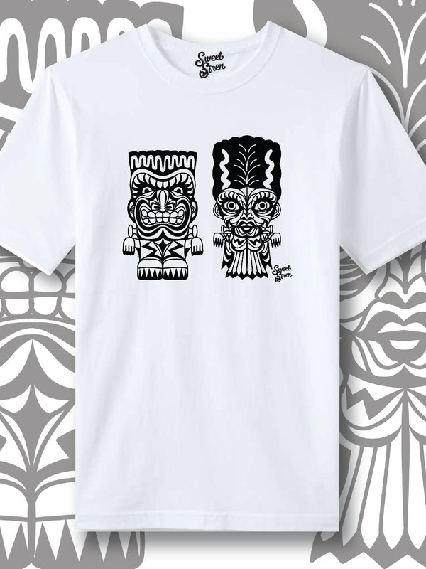 Franky & Bride Tiki Monsters - Black Ink - Unisex tee
