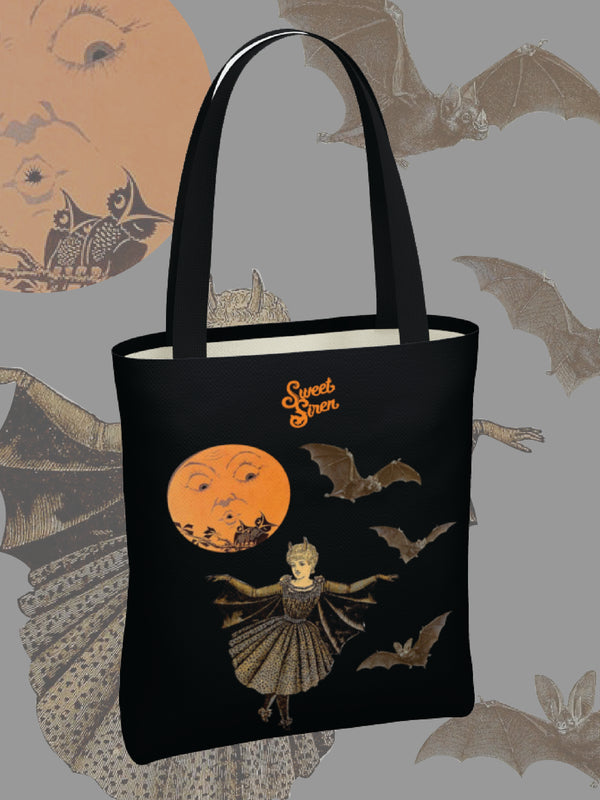 Victorian Bat Wings in the Moonlight - BASIC Tote Bag