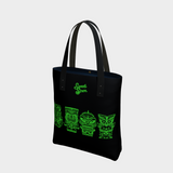 Tiki Monsters SLIME GREEN - Black Urban Tote