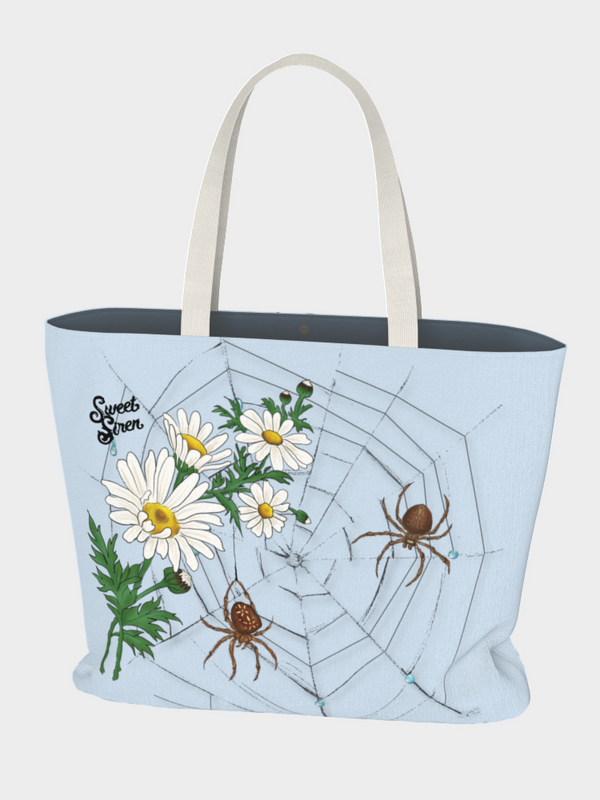Spider Daisy - Powder Blue Beach Tote